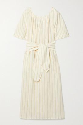 Mara Hoffman Aliz Belted Striped Linen And Tencel Lyocell-blend Midi Dress - Ecru
