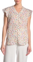Adrianna Papell Floral Flutter Sleeve Blouse