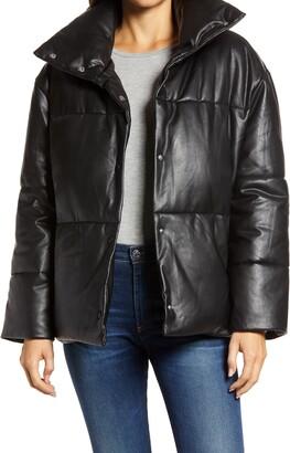 AVEC LES FILLES Oversize Faux Leather Puffer Jacket