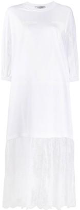 Valentino lace trim midi T-shirt dress