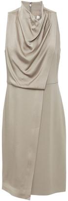 Halston Draped Satin-crepe Dress