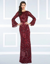 Mac Duggal Black White Red - 4576R Beaded Dress with Long Bell Sleeves