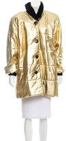 Saint Laurent Velvet-Trimmed Leather Coat