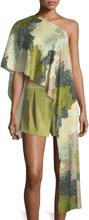 Off-White Off White Floral-Print One-Shoulder Asymmetric Top