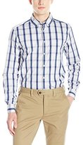 Kenneth Cole New York Men's Long Sleeve Slim Button Down Collar Check Shirt