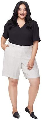 NYDJ Plus Size Plus Size Bermuda Linen Shorts in Slubby Stripe (Slubby Stripe) Women's Shorts