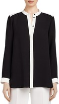 Lafayette 148 New York Teagan Color Block Silk Blouse