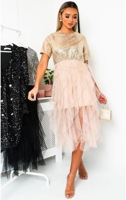 IKRUSH Roxi Tulle Sequin Midi Dress