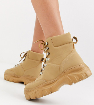 Truffle Collection wide fit chunky hiker boots-Tan