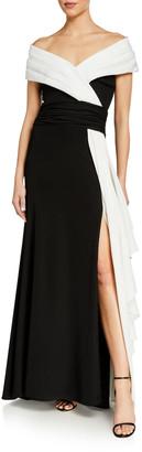Tadashi Shoji Two-Tone Off-the-Shoulder Asymmetric Drape Gown