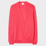 Paul Smith Women's Pink Merino Wool Cardigan With Flower Buttons