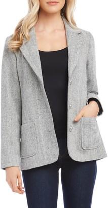 Karen Kane Chevron Stripe Tweed Blazer