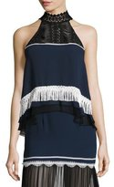 Jonathan Simkhai Tiered Fringe Sleeveless Silk Top