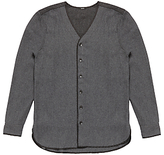 Denham Flight Knitted Shirt, Grey Marl