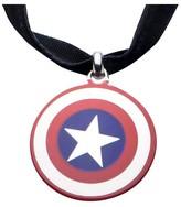 "Marvel Women's Captain America Shield Stainless Steel Pendant on Fabric Choker Necklace (12"")"