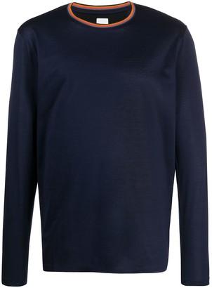 Paul Smith striped collar longsleeved T-shirt