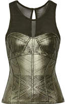 Herve Leger Metallic Bandage And Stretch-knit Top - Army green