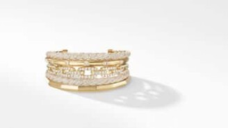 David Yurman Stax Five Row Cuff Bracelet With Diamonds In 18K Gold,