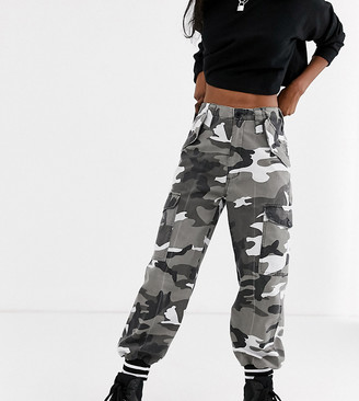 Reclaimed Vintage revived washed utility jogger in camo with tipped cuff-Black