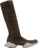 Rick Owens Grey Suede Adidas By Mid-calf Sneakers