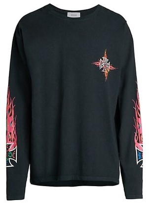 Rhude Long-Sleeve Neon Flame Graphic T-Shirt