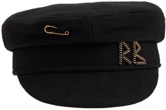 Ruslan Baginskiy Monogram Embellished Wool Baker Boy Cap