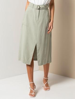 Forever New Sienna Belted Midi Skirt - Soft Green - 12