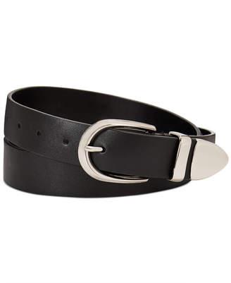 Calvin Klein Flat Strap Leather Belt With Metal Tip
