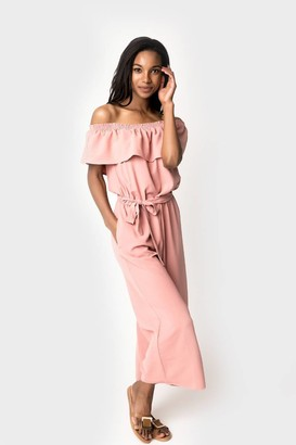 Gibson The Doubletake Girls Off Shoulder Ruffle Jumpsuit