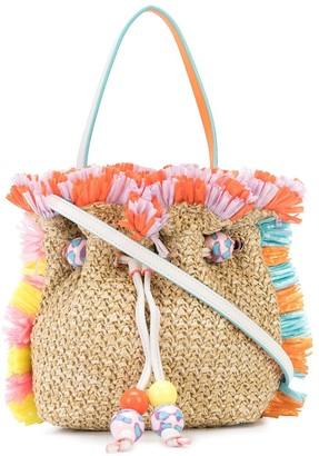 Sophia Webster Fringed Woven Bucket Bag