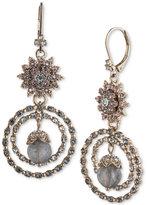 Marchesa Gold-Tone Crystal Cluster & Stone Orbital Drop Earrings