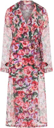 Dolce & Gabbana Floral-Print Organza Trench Coat
