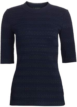 St. John Lace Jacquard Elbow Length Sweater