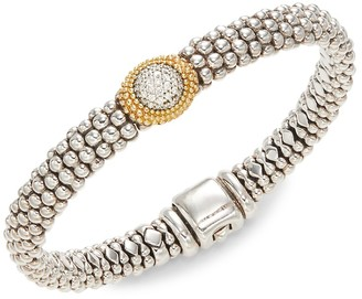 Lagos 18K Yellow Gold, Sterling Silver & Diamond Bracelet