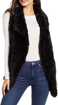 Love Token Drape Front Faux Fur Vest