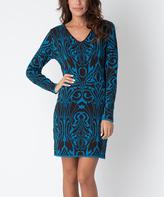 Yuka Paris Brown & Turquoise Abstract V-Neck Sweater Dress