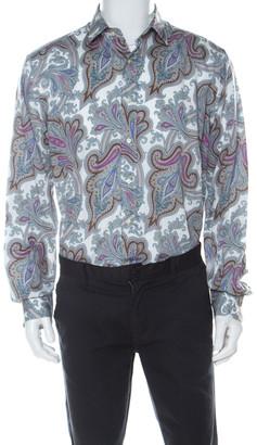 Etro Multicolor Paisley Print Cotton Long Sleeve Button Front Shirt XL