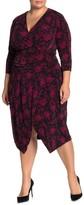 Rachel Roy Silvia Floral Surplice 3/4 Sleeve Dress (Plus Size)