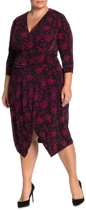 Rachel Roy Silvia Floral Surplice 3/4 Sleeve Dress (Plus Size)
