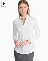 White House Black Market Petite White Poplin Shirt