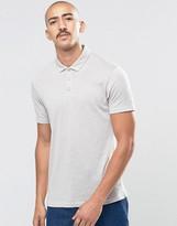 Asos Textured Polo Shirt In Gray