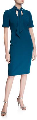 Badgley Mischka Tie-Neck Short-Sleeve Sheath Dress w/ Mandarin Collar