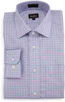 Neiman Marcus Classic-Fit Non-Iron Plaid Dress Shirt, Blue/Pink