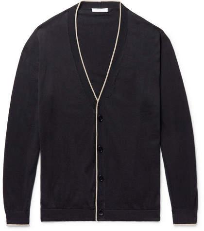 Boglioli Contrast-Tipped Cotton Cardigan