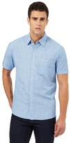 Maine New England Big And Tall Blue Textured Short Sleeved Shirt