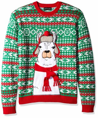 Blizzard Bay Men's Trapper Hat Scarf Llama Ugly Christmas Sweater X-Large