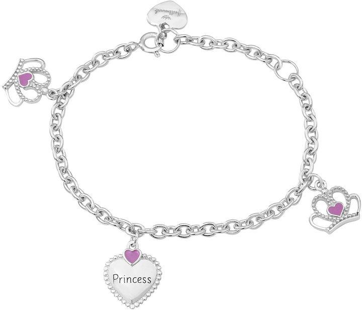 Hallmark Kids Sterling Silver Enamel Princess Charm Bracelet