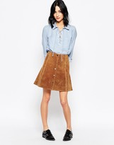Only Suede Press Stud Fastening Front Skirt