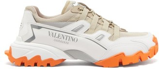 Valentino Climbers Logo-print Leather And Mesh Trainers - Beige