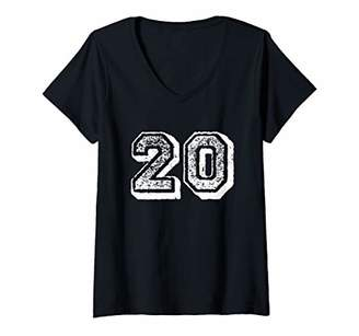 Womens Number 20 Sports Jersey Player Fan FRONT Print Vintage V-Neck T-Shirt